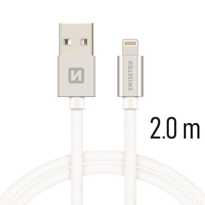 SWISSTEN DATOVY KABEL IPHONE TEXTIL USB/LIGHTNING 2M STRIEBORNY