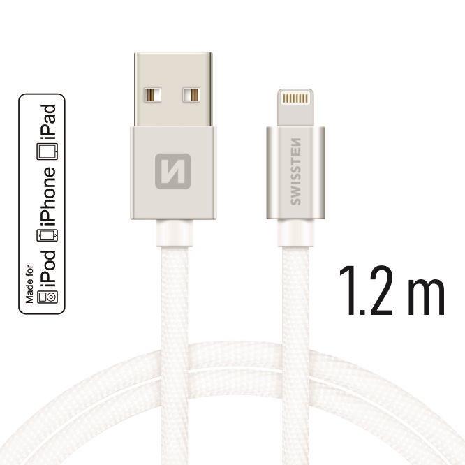 SWISSTEN DATOVY KABEL IPHONE TEXTIL USB/LIGHTNING MFI 1,2M STRIEBORNY