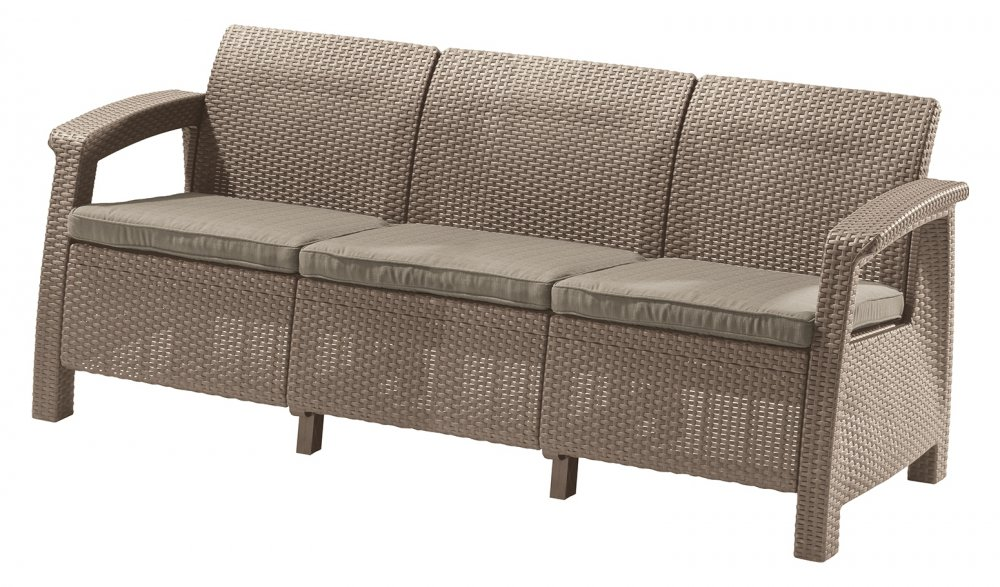 ALLIBERT /227641/ POHOVKA CORFU II MAX LOVE SEAT CAPPUCCINO + SAND BEIGE