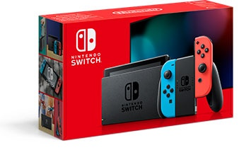 NINTENDO SWITCH CONSOLE WITH NEON RED  AMP BLUE JOYCON