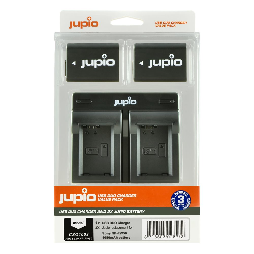 Set Jupio 2x baterie NP-FW50 - 1030 mAh + duálna nabíjačka