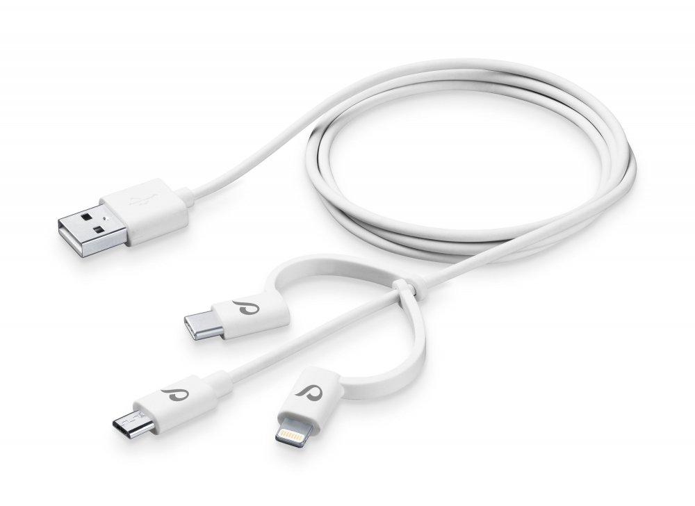 USB kabel CellularLine se třemi adaptéry Lightning + Micro USB + USB-C, bílý