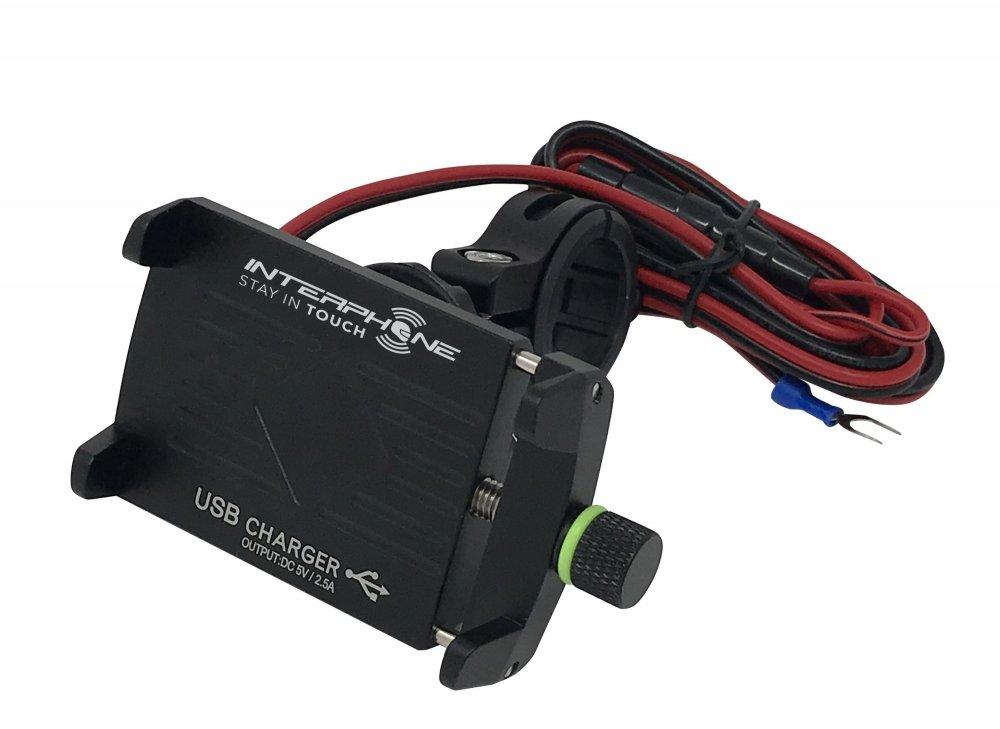 Univerzální držák Interphone CRAB Evo Alu s odolnou konstrukcí a nabíječkou, úchyt na řídítka