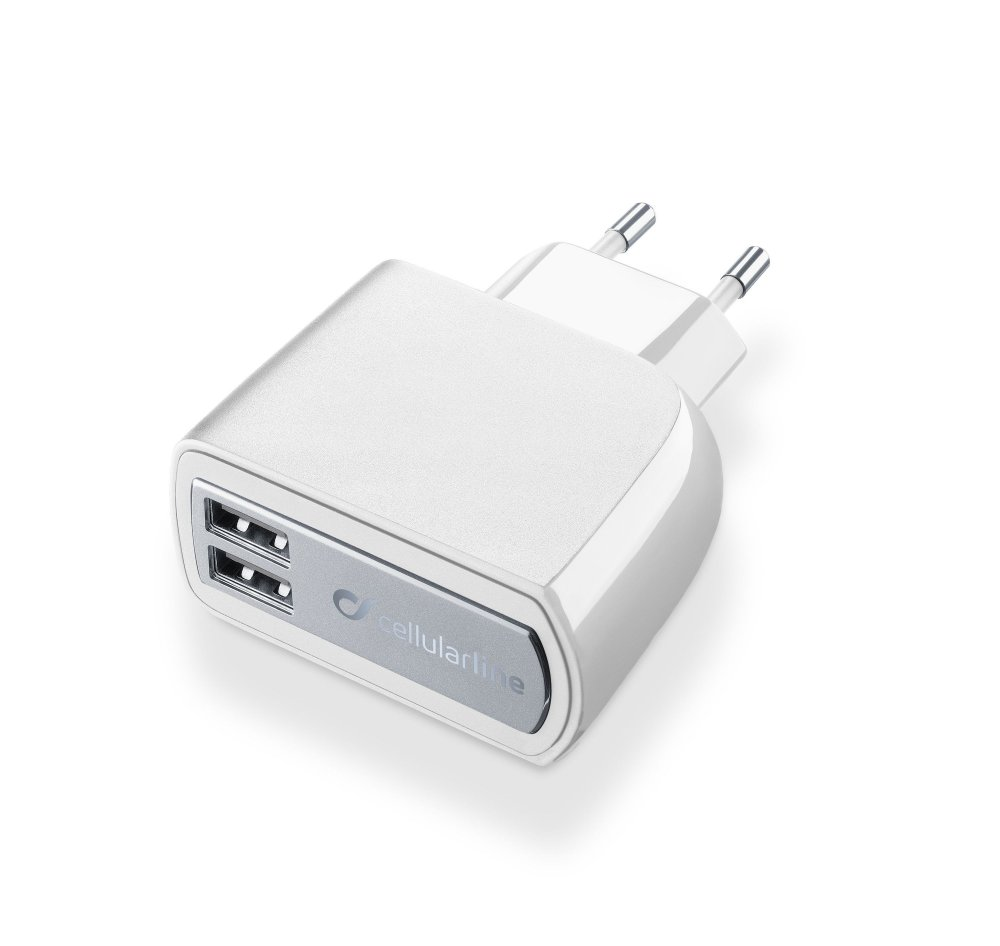 Síťová nabíječka Cellularline s 2 x USB konektorem, 15W/3.1A, bílá