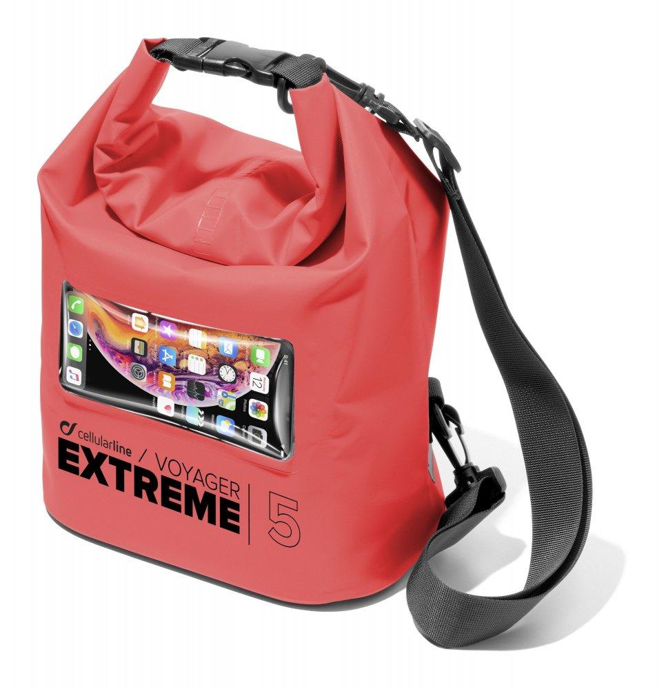 Vodotěsný vak s kapsou na mobilní telefon Cellularline Voyager Extreme, červený