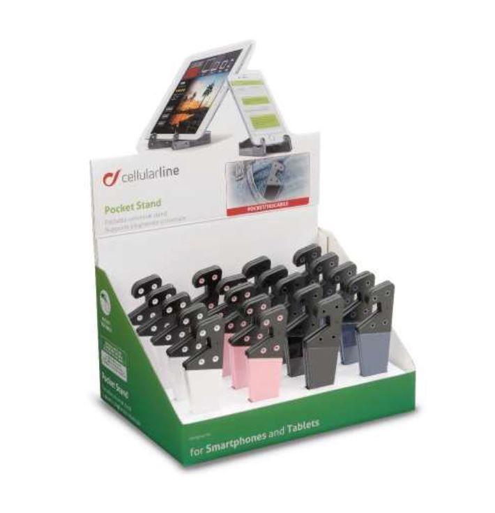 Prodejní papírový stojánek s 20 ks skládacích univerzálních stojánků mobilních telefonů, různé barvy