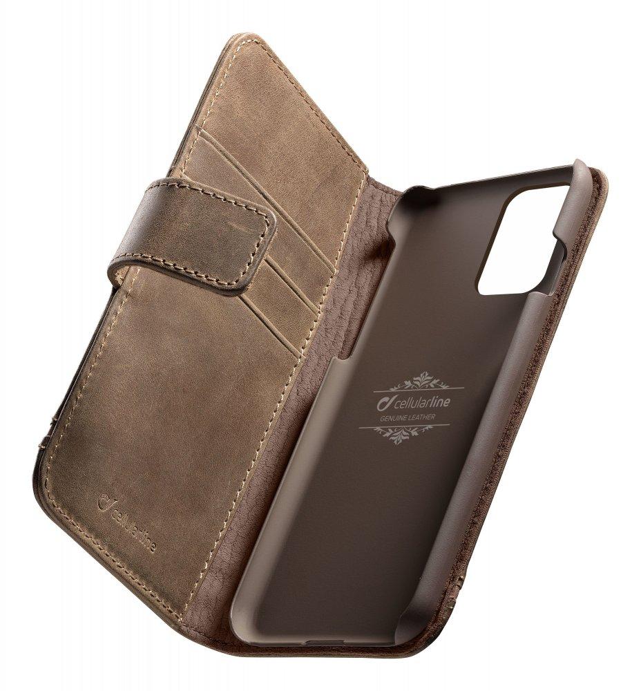 Prémiové kožené pouzdro typu kniha Cellularline Supreme pro Samsung Galaxy S20+, hnědé