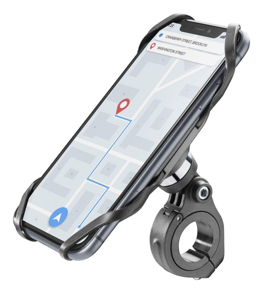 Univerzální držák Cellularline Bike Holder PRO pro mobilní telefony k upevnění na řídítka, černý