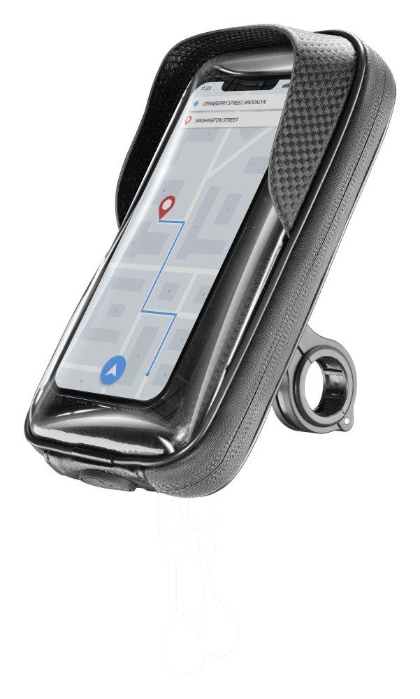 """Univerzální držák mobilního telefonu Cellularline Rider Shield na řídítka pro motorku i kolo, voděodolný, do vel. 6,7"""","""