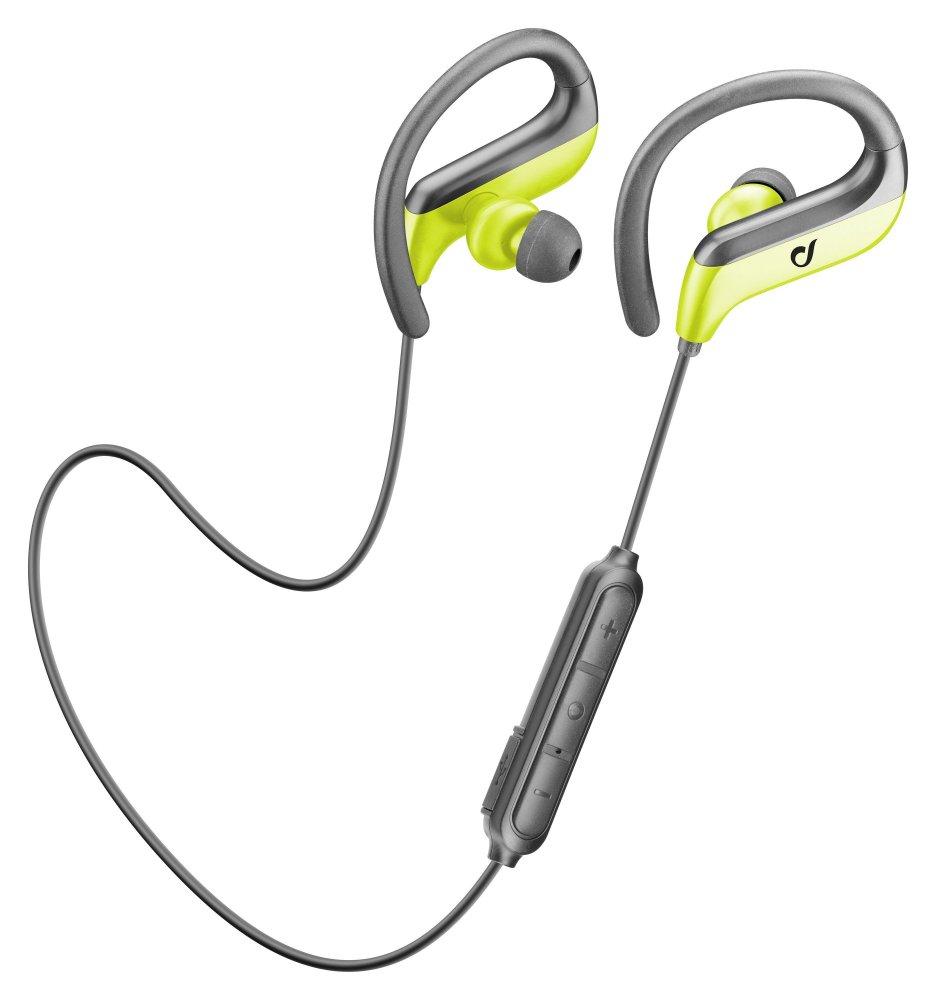 Sportovní bezdrátová ergonomická sluchátka Cellularline Jogger, černo-zelená