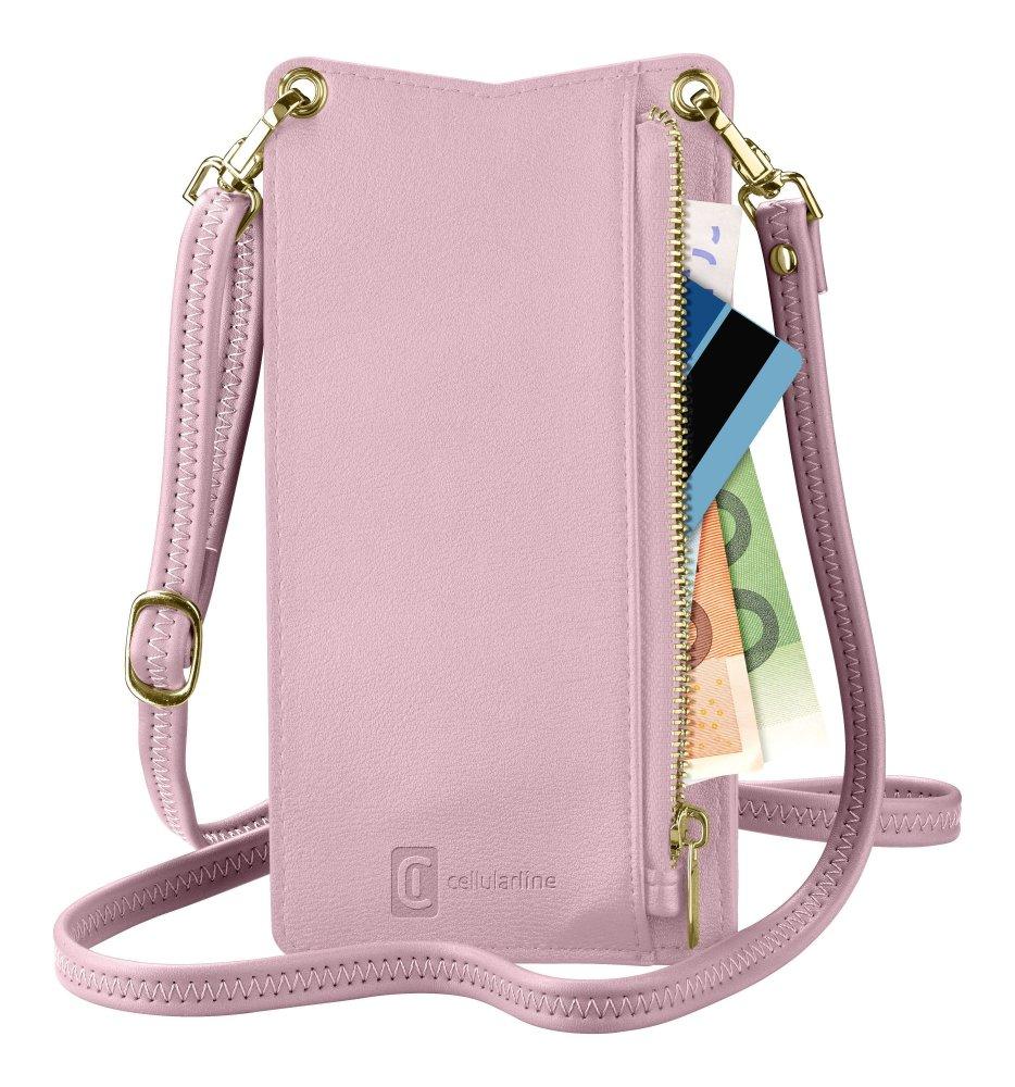 Pouzdro na krk Cellularline Mini Bag pro mobilní telefony, růžový