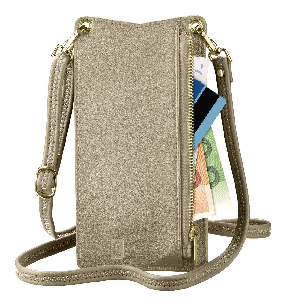 Pouzdro na krk Cellularline Mini Bag pro mobilní telefony, bronzový