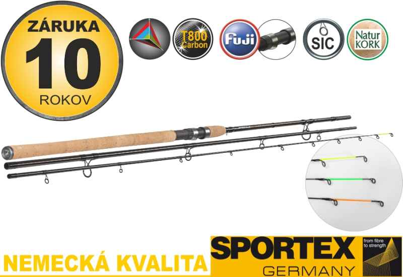 Feeder prúty SPORTEX Xclusive NT Medium Light Feeder 390cm / 60-120g