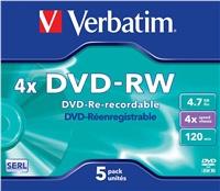 VERBATIM DVD-RW SERL 4,7GB, 4x, jewel case 5 ks