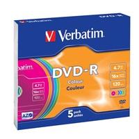 VERBATIM DVD-R AZO 4,7GB, 16x, colour, slim case 5 ks