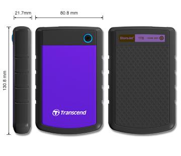 """TRANSCEND 1TB StoreJet 25H3P SLIM, 2.5"""", USB 3.0 (3.1 Gen 1) Externí Anti-Shock disk, tenký profil, černo/fialový"""