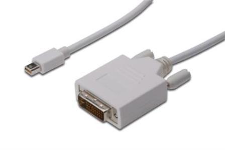 Digitus kabelový adptér DisplayPort, mini DP - DVI (24 + 1) M / M, 3,0 m, kompatibilní s DP 1.1a, CE, wh