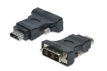 Digitus adaptér HDMI A samice / DVI-D(18+1) samec, černo/šedý , pozlacené konektory