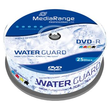 MEDIARANGE DVD-R 4,7GB 16x Waterguard Photo spindl 25pck/bal Inkjet Printable