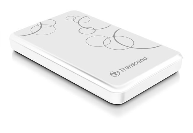 """TRANSCEND 1TB StoreJet 25A3, 2.5"""", USB 3.0 (3.1 Gen 1) Stylový externí odolný hard disk, bílý se vzorem"""