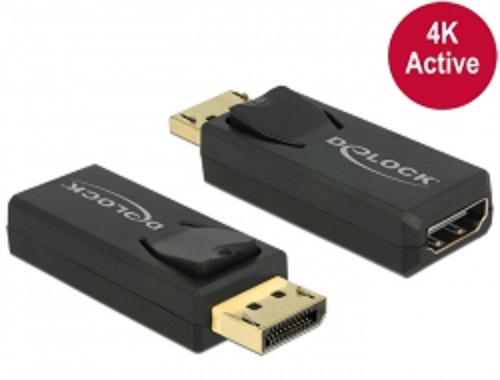 Delock adaptér Displayport 1.2 samec > HDMI samice 4K aktivní černý