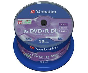 VERBATIM DVD+R DL AZO 8,5GB, 8x, spindle 50 ks