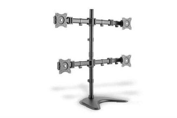 """DigitusStolní stojan pro ctyři monitory/Upínací držáky, černý 15-27 """", max. Zatížení 4x8 kg, VESA max. 100x100"""