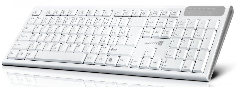 CONNECT IT Multimediální bezdrátová klávesnice, 2,4GHz, USB, CZ + SK layout, bílá