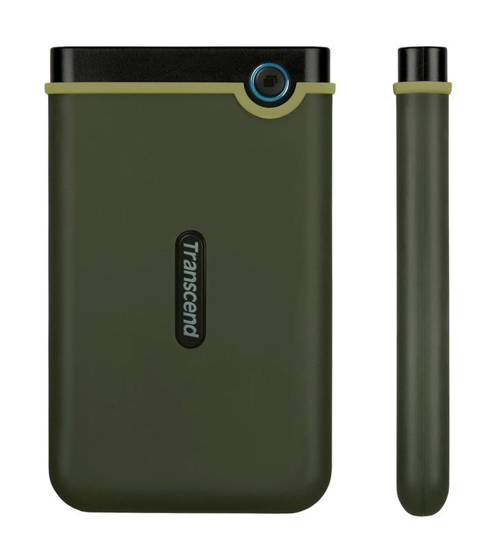 """TRANSCEND 2TB StoreJet 25M3G SLIM, 2.5"""", USB 3.0 (3.1 Gen 1) Externí Anti-Shock disk, tenký profil, armádní zelená"""