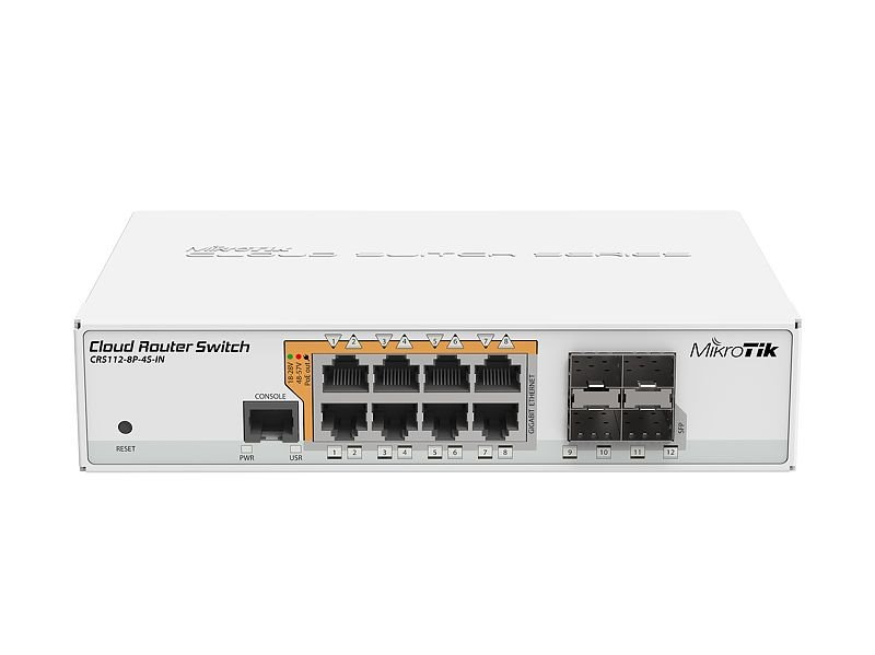 MikroTik Cloud Router Switch CRS112-8P-4S-IN, 8x GLAN s PoE, 4x SFP