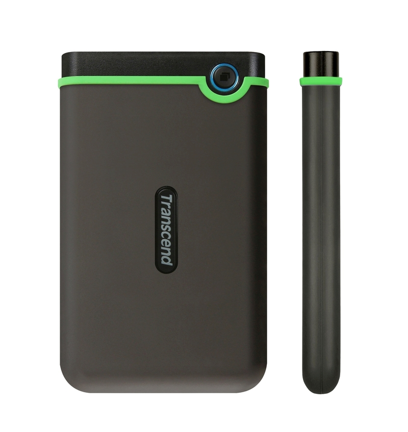"""TRANSCEND 2TB StoreJet 25M3S SLIM, 2.5"""", USB 3.0 (3.1 Gen 1) Externí Anti-Shock disk, tenký profil, šedo/zelený"""