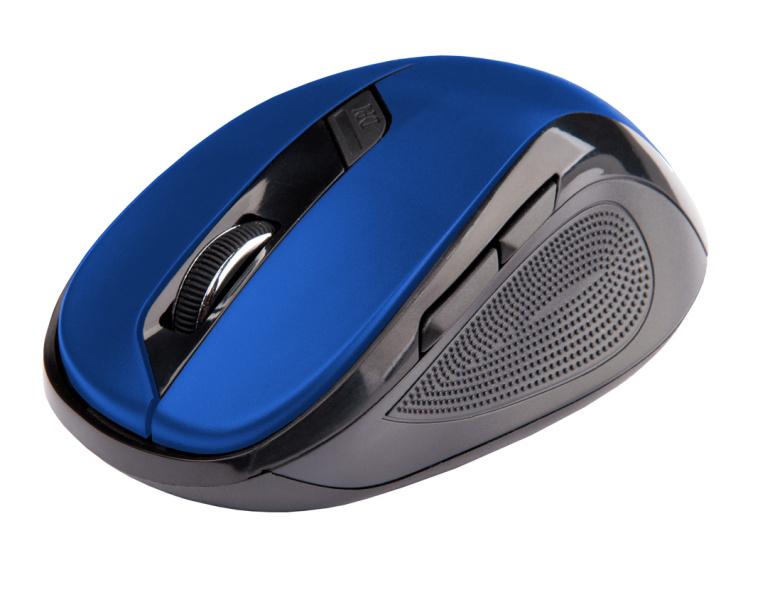 C-TECH myš WLM-02, černo-modrá, bezdrátová, 1600DPI, 6 tlačítek, USB nano receiver