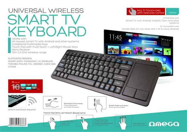 OMEGA bezdrátová CZ klávesnice s touch padem pro smart TV, černá