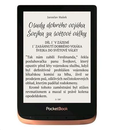 PocketBook 632 Touch HD 3 Spicy Copper 16GB šedý ebook reader 6´´ Eink1488 x 1072 LCD Wifi 16GBSD  pouzdro zdarma