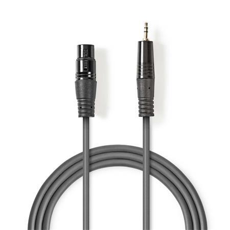 Nedis COTH15320GY10 - Vyvážený XLR Audiokabel | XLR 3pinová Zásuvka – 3,5mm Zástrčka | 1 m | Šedá barva