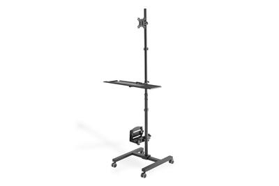 """DIGITUS Mobilní pracovní stanice (úchyt na Monitor , PC držák) max. Zatížení 8 kg, max. 32 """"obrazovka, černá"""