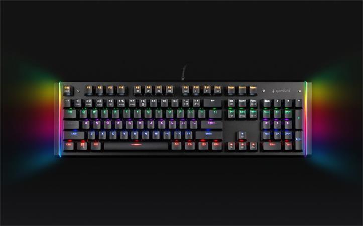 Herní klávesnice GEMBIRD KB-UMW-01, optické spínače, RGB, US layout