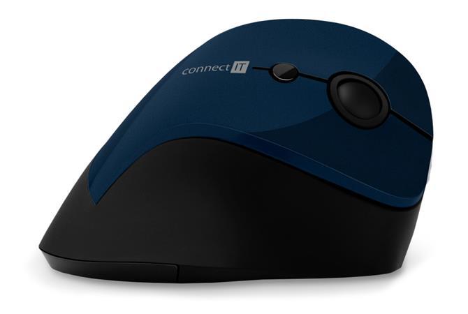 CONNECT IT FOR HEALTH ergonomická vertikální myš, (+ 1x AA baterie zdarma), bezdrátová, MODRÁCONNECT IT FOR HEALTH ergonomická ver
