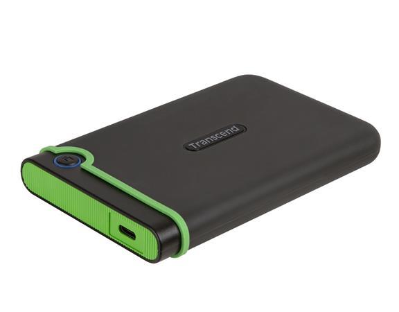 """TRANSCEND 4TB StoreJet 25M3C SLIM, 2.5"""", USB-C (3.1 Gen 1) Externí Anti-Shock disk, tenký profil, šedo/zelený"""