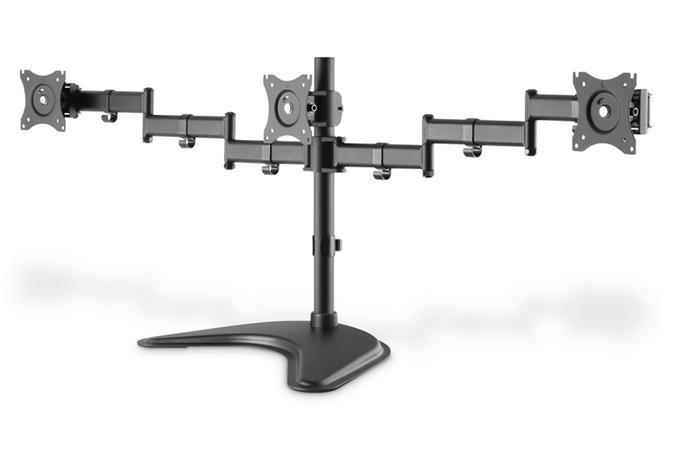 """DIGITUS Univerzální stojan na tři monitory 13-27 """", 3x 8 kg (max.), Černý"""