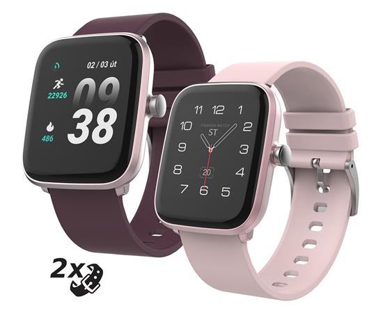 """iGET FIT F25 Pink - Chytré hodinky 1,4"""" IPS, 240x240 plně dotykový, BT 5.0, 160 mAh, 128kB RAM, 64MB ROM"""
