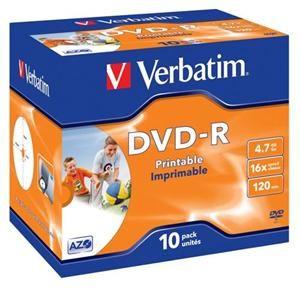 VERBATIM DVD-R AZO 4,7GB, 16x, printable, jewel case 10 ks