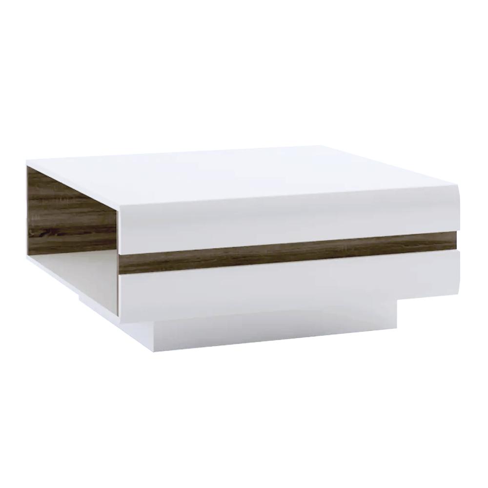 TEMPO KONDELA Konferenčný stolík, biela extra vysoký lesk HG/dub sonoma tmavý truflový, LYNATET TYP 70