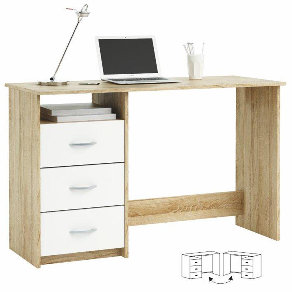 TEMPO KONDELA PC stôl, dub sonoma/biela, LARISTOTE