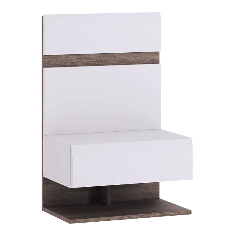 TEMPO KONDELA Nočný stolík, biela extra vysoký lesk HG/dub sonoma tmavý truflový, LYNATET TYP 95