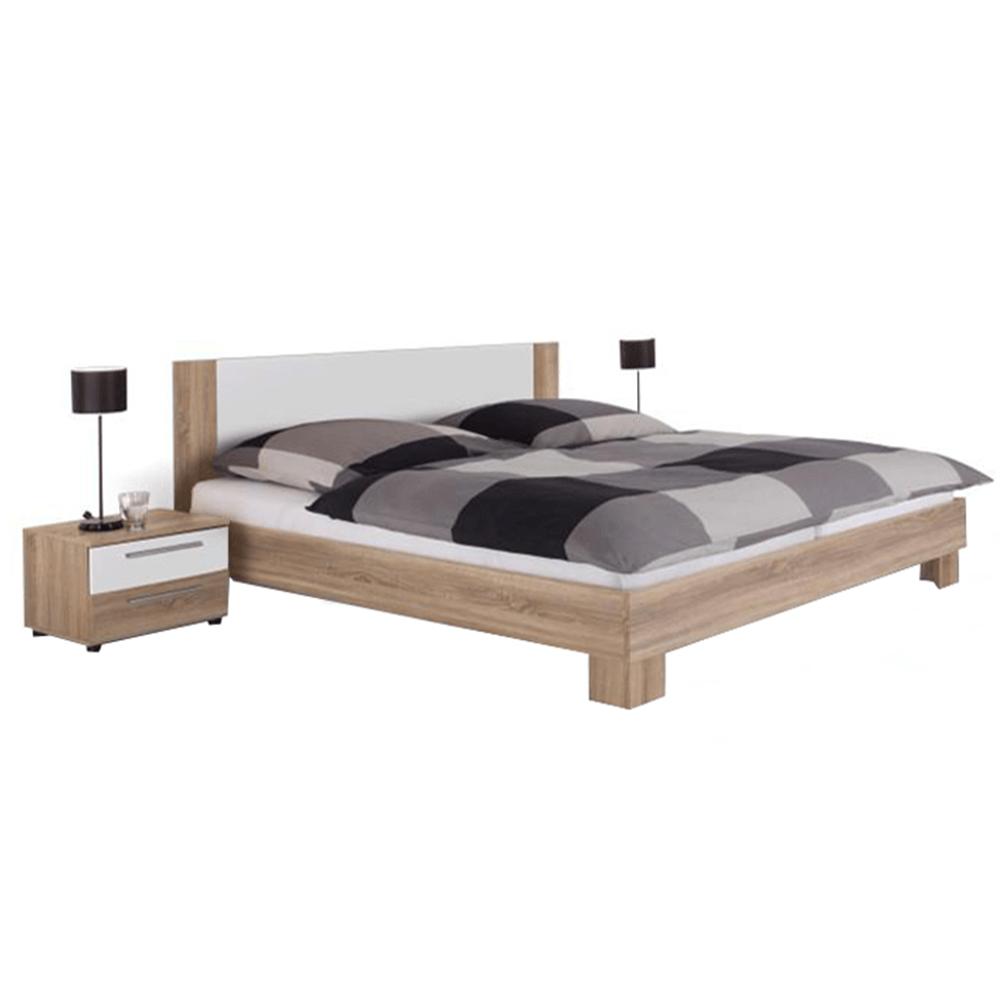 TEMPO KONDELA Manželská posteľ, s 2 nočnými stolíkmi, dub sonoma/biela, 180x200, MARTINA