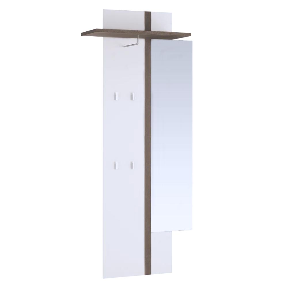TEMPO KONDELA Vešiakový panel so zrkadlom, biela, LYNATET TYP 115