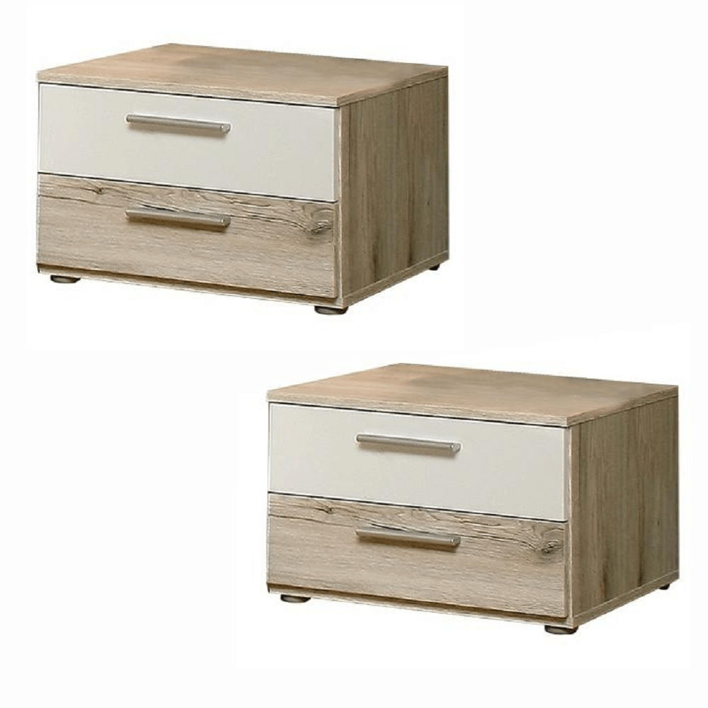 TEMPO KONDELA 2 nočné stolíky, dub piesková/biela, VALERIA