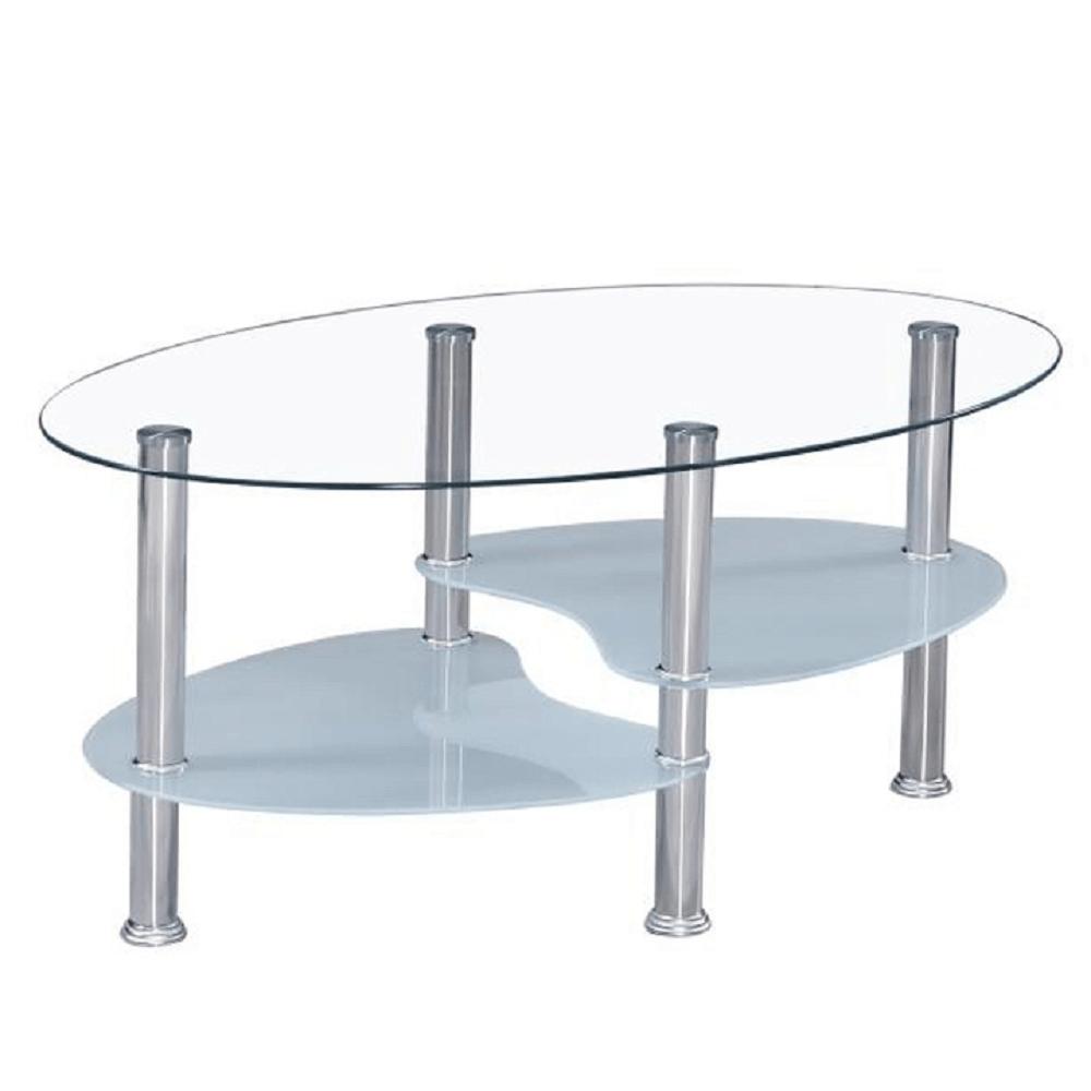 TEMPO KONDELA Konferenčný stolík, oceľ/sklo, WAVE NEW