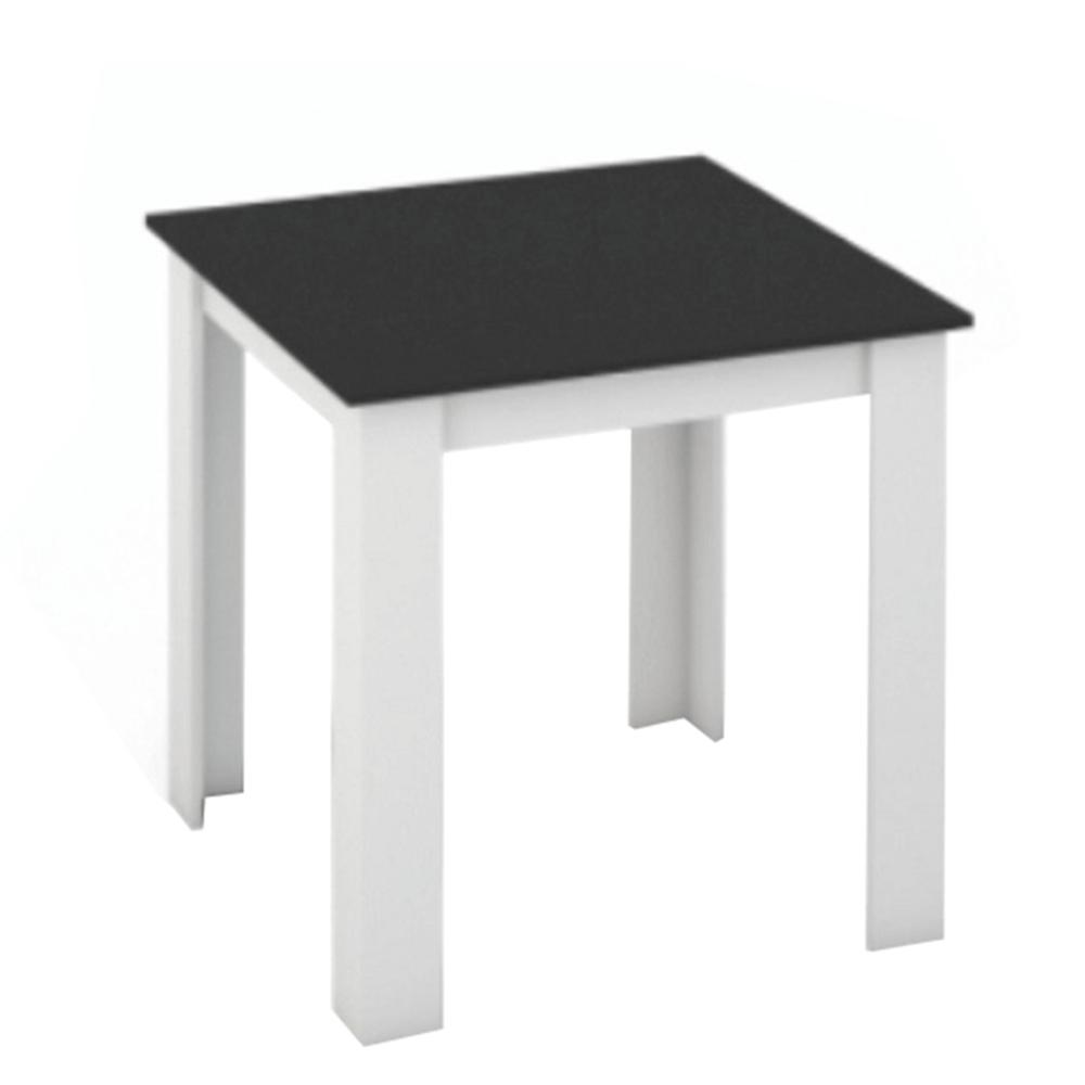TEMPO KONDELA Jedálenský stôl, biela/čierna, 80x80, KRAZ